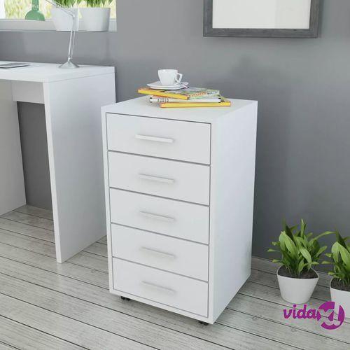 Vidaxl szafka biurowa z kółkami i 5 szufladami, w kolorze białym (8718475977438)
