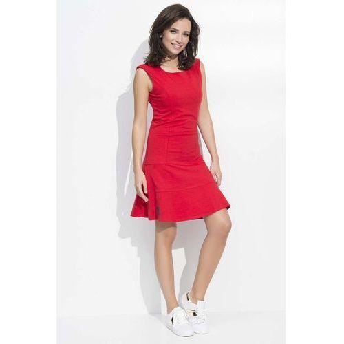 Makadamia Czerwona sukienka lekko rozkloszowana dresowa