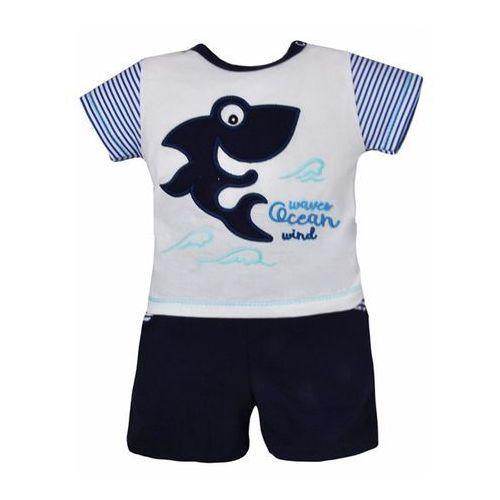 Piękny niemowlęcy 2-częściowy zestaw Bobas Fashion Shark biało-granatowa