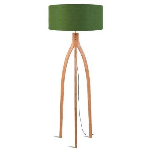 GOOD&MOJO Lampa podłogowa Annapurna bambus 3-nożna 128cm/abażur 60x30cm, lniany zieleń lasu ANNAPURNA/F/6030/GF, ANNAPURNA/F/6030/GF