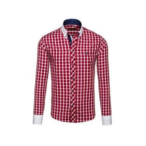 Koszula męska w kratę z długim rękawem bordowa 5737, Bolf
