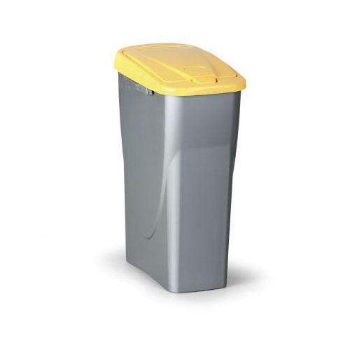 Kosz na odpadki (sz x gł x wys): 21,5 x 36 x 51 cm, 25l, żółte wieko marki B2b partner