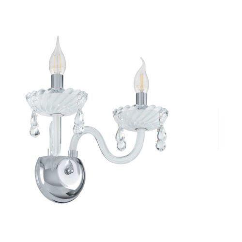 Kinkiet carpento 39116 świecznikowy lampa oprawa ścienna 2x40w e14 chrom/biały marki Eglo