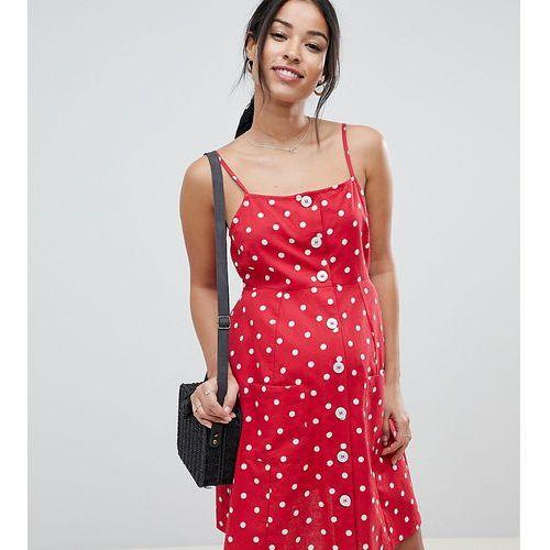 ASOS DESIGN Maternity polka dot button through linen mini sundress - Multi