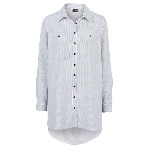 Koszula w paski bonprix czarno-biały prążek, kolor czarny