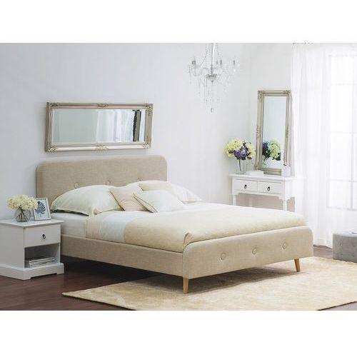 Łóżko beżowe - 140x200 cm - łóżko tapicerowane - RENNES, kolor beżowy