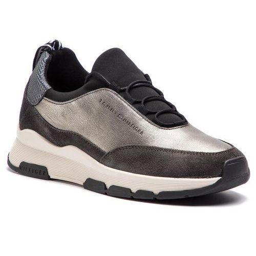 5c7ceaf0cb5e5 Półbuty damskie · Sneakersy - cool leather debossed sneaker fw0fw04028  silver 000 marki Tommy hilfiger