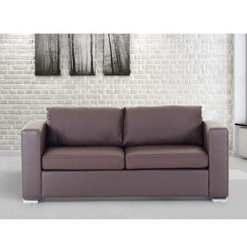 Skórzana sofa trzyosobowa brązowa - kanapa - HELSINKI, kolor brązowy