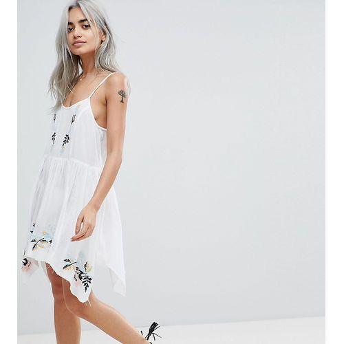 Asos petite Asos design petite floral cross stitch embroidered strappy beach sundress - white