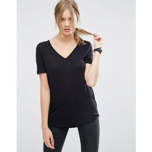 Asos tall ASOS TALL The New Forever T-Shirt With Short Sleeves and Dip Back - Black, czarna