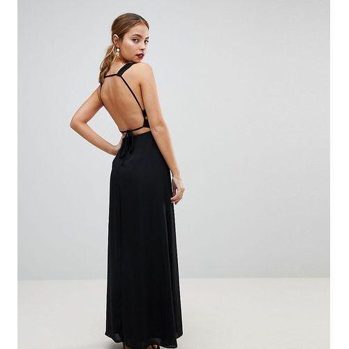 Asos petite embellished waist strap back maxi dress - black