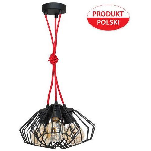Lampa oprawa druciana wisząca zwis żyrandol Milagro Ferro Rosso 3x60W E27 czarna 127, 127