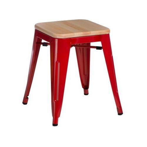 Stołek, taboret Paris Wood 45 cm sosna naturalna (czerwony) D2 (5902385726641)