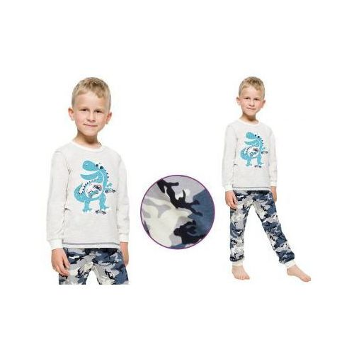 Piżama dziecięca MIŁOSZ: szary/moro, kolor zielony