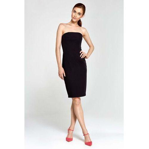 Czarna sukienka wieczorowa ołówkowa tuba z odkrytymi ramionami marki Nife