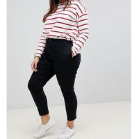 ankle length stretch skinny trousers with zip side pockets - black, Asos curve