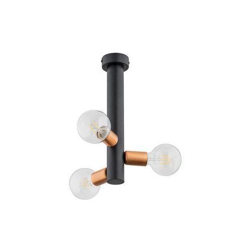 Lemir foco o2823 w3 cza plafon lampa sufitowa żyrandol 3x60w e27 czarny mat / miedź
