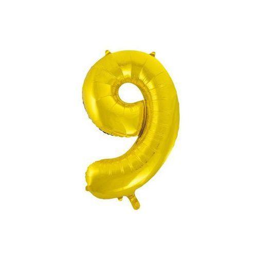 Unique Balon foliowy cyfra dziewięć 9 złota - 86 cm - 1 szt.