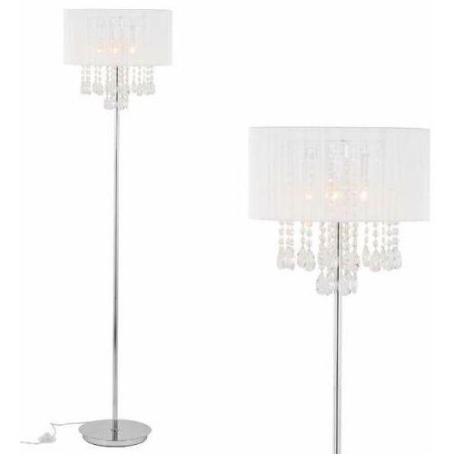 Abażurowa lampa podłogowa essence mfm9262/3p wh stojąca oprawa glamour organza z kryształkami biała przezroczysta marki Italux