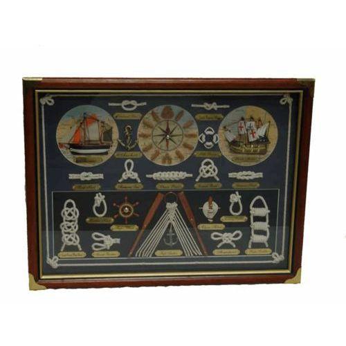 Obraz węzły mapa żaglowiec zegar 55x42cm marki Nauticdecor