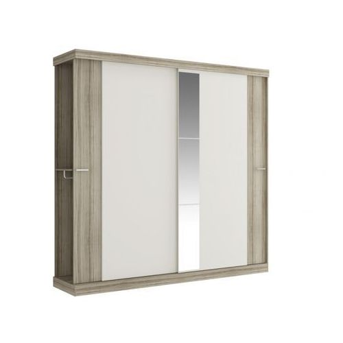 Szafa ADALRIK - Podwójne drzwi przesuwne - dł.231 cm - Kolor: dąb i kość słoniowa