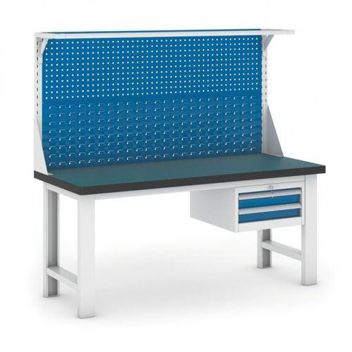 Stół warsztatowy GB z panelem i kontenerem szufladowym, 1800 mm