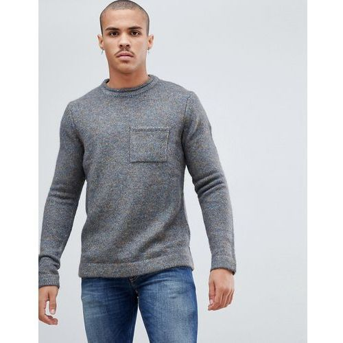 brushed wool mix jumper with pocket - grey, Bellfield