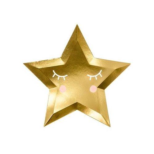 Talerzyki złote gwiazdki - little star - 27 cm - 6 szt. marki Party deco