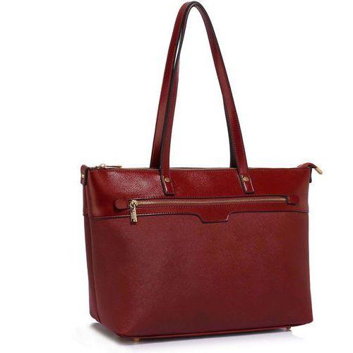 Duża bordowa klasyczna torebka na ramię - bordowy
