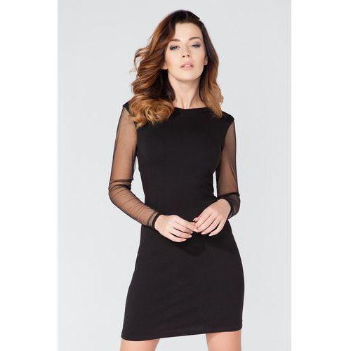 Czarna sukienka mini z odkrytymi plecami, Tessita, 36-40