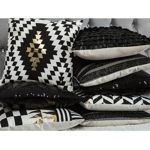 Poduszka dekoracyjna pasiasta skóra ekologiczna czarna 45 x 45 cm marki Beliani