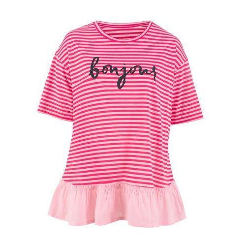 Bluzka bonprix zieleń trawiasta, kolor różowy
