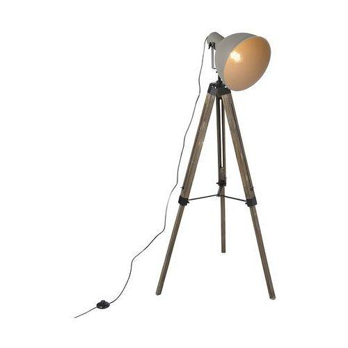 Industrialna lampa podłogowa drewniany statyw szary klosz - laos marki Qazqa