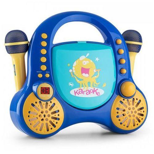 Auna Rockpocket dziecięcy system karaoke cd aux 2 mikrofony, zestaw naklejek, niebieski