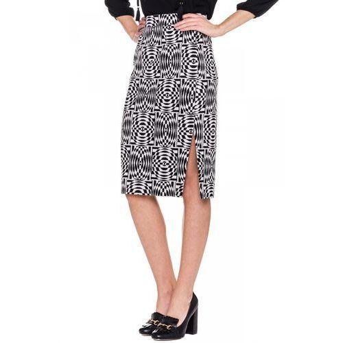 Spódnica w czarno-białe wzory - Bialcon, biały, 1 rozmiar