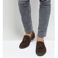Silver street wide fit tassel loafers in brown suede - brown