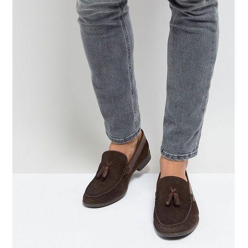 Silver street wide fit tassel loafers in brown suede - brown
