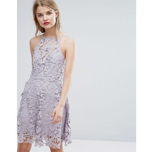 cutwork lace skater dress - grey marki New look