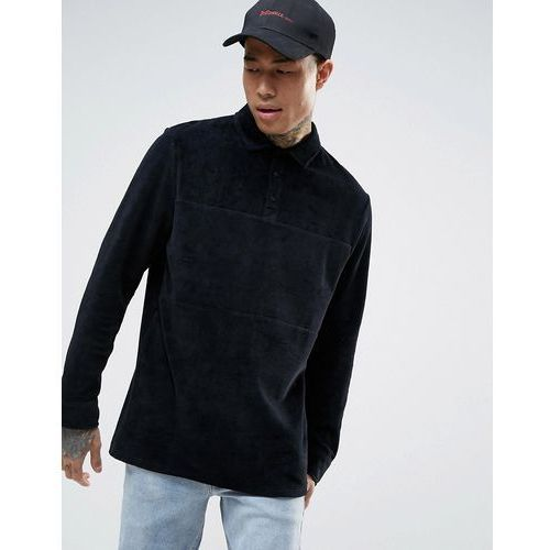 Asos  longline long sleeve polo shirt in black velour with rugby styling - black