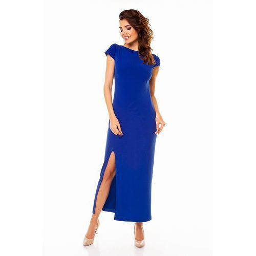 Awama Niebieska elegancka maxi sukienka z wycięciem na plecach