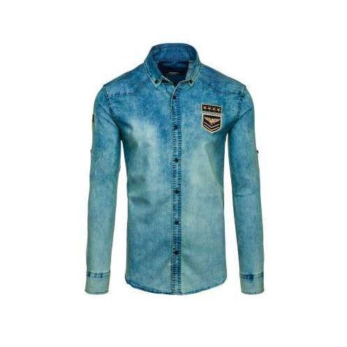 Koszula męska jeansowa z długim rękawem granatowo-szara denley 0992, Madmext