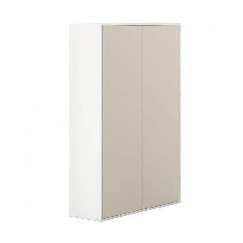 Szafa wysoka z drzwiami White LAYERS, beżowe drzwi