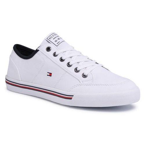 Tenisówki TOMMY HILFIGER - Core Corporate Textile Sneaker FM0FM02676 White YBS, kolor biały
