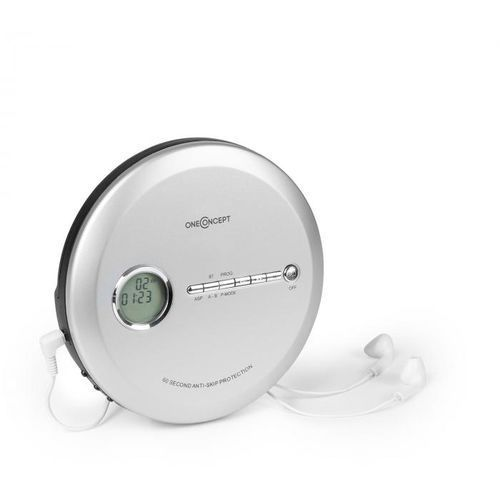 OneConcept CDC 100MP3 Discman Odtwarzacz CD ESP Micro-USB srebrny (4260509681476)