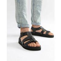 chunky sandals in black leather - black marki Dune