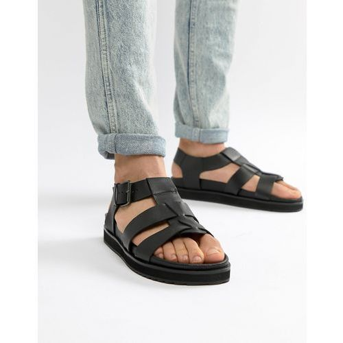 Dune chunky sandals in black leather - black