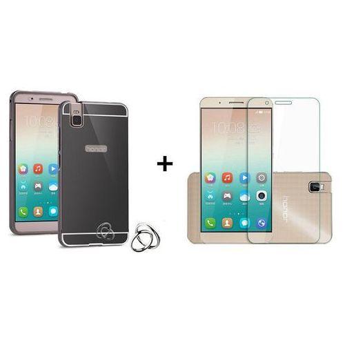 Zestaw | Mirror Bumper Metal Case Czarny + Szkło ochronne Perfect Glass | Etui dla Huawei Honor 7i / Shot X