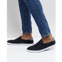 iconic slip on canvas plimsolls in black - black marki Tommy hilfiger