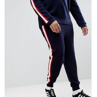 plus knitted co-ord joggers with side stripe in navy - navy, Asos, XXL-XXXL