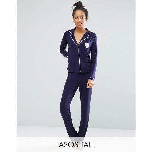 ASOS TALL Traditional Jersey Long Sleeve Shirt & Long Leg Pyjama Set - Navy